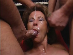Older feminine screwed and creamed, entire yet bukkake