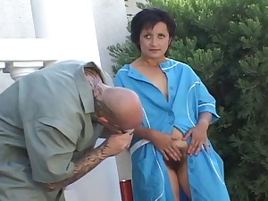Lascivious older premier her shaggy muff for fucking