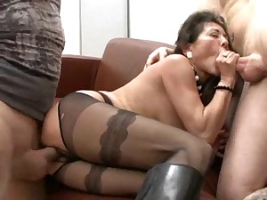 Unshaved german granny in shoes takes 2 knobs