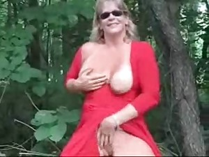 Exhibition of glamorous mature slut outdoor. Dilettante mature