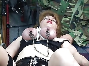 Thick, aged hottie receives her pantoons tied in rope, tortured